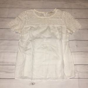 Women J. Crew White Linen and Lace Top